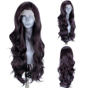 Image 1 - Perucas sintéticas pretas naturais da parte dianteira do laço de anogol #4 com o cabelo do bebê para as perucas longas do cabelo de futura da onda da água resistente ao calor