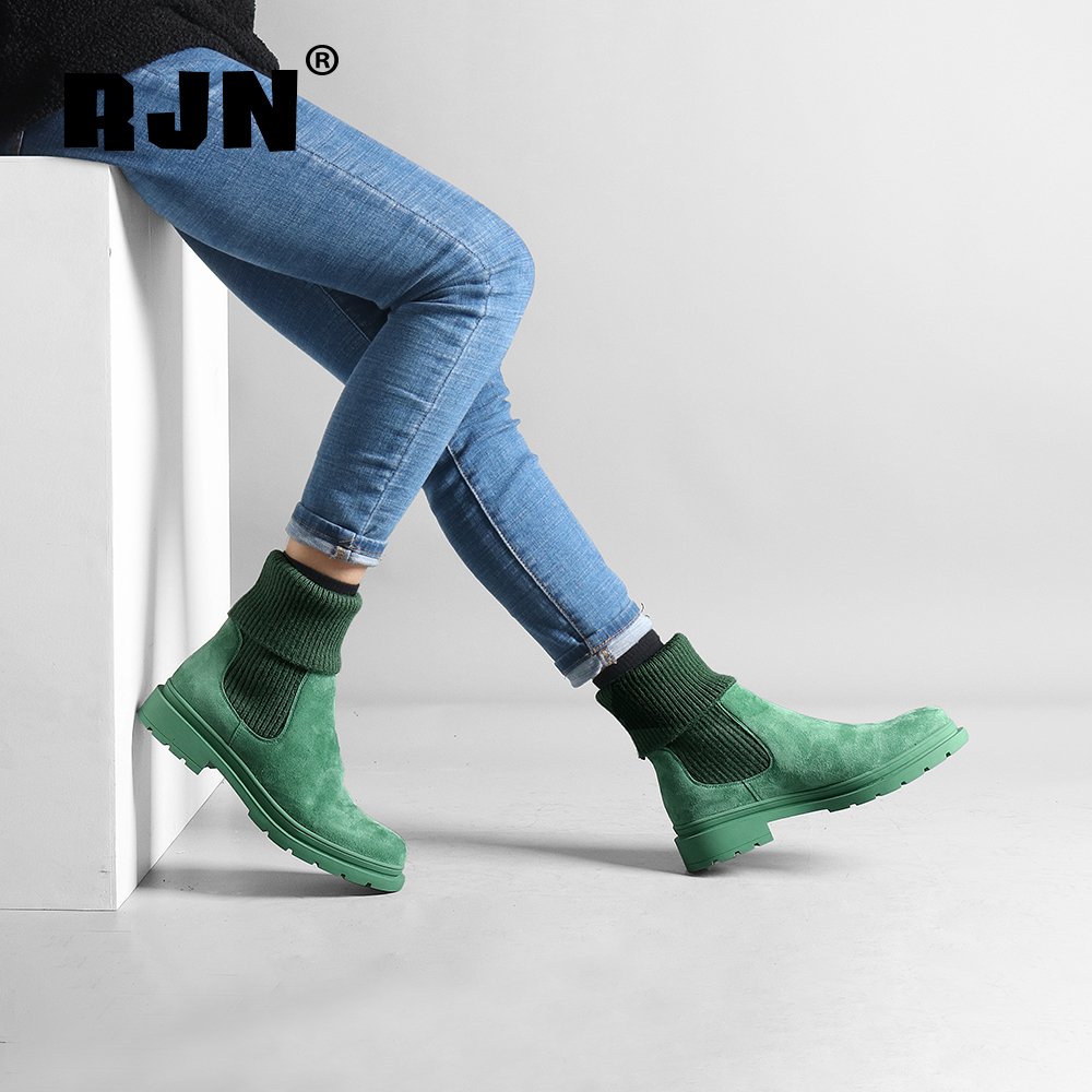 Buy RJN Comfortable Ankle Boots Knitting Candy Colors Kid Suede Round Toe Low Heel Shoes Women Slip-On Chelsea Boots For Winter R24