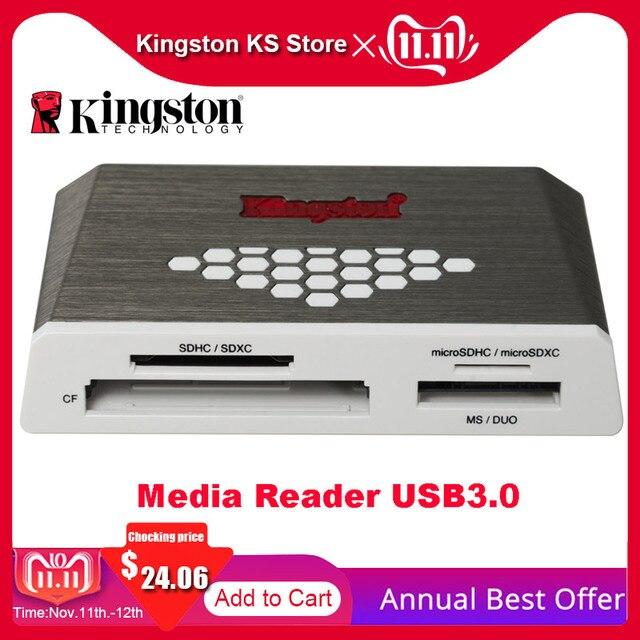 Kingston micro leitor de cartão sd usb3.0 leitor de mídia cf tf ms sdhc/sdxc UHS I microsd multi função cartão de memória flash adaptador usb