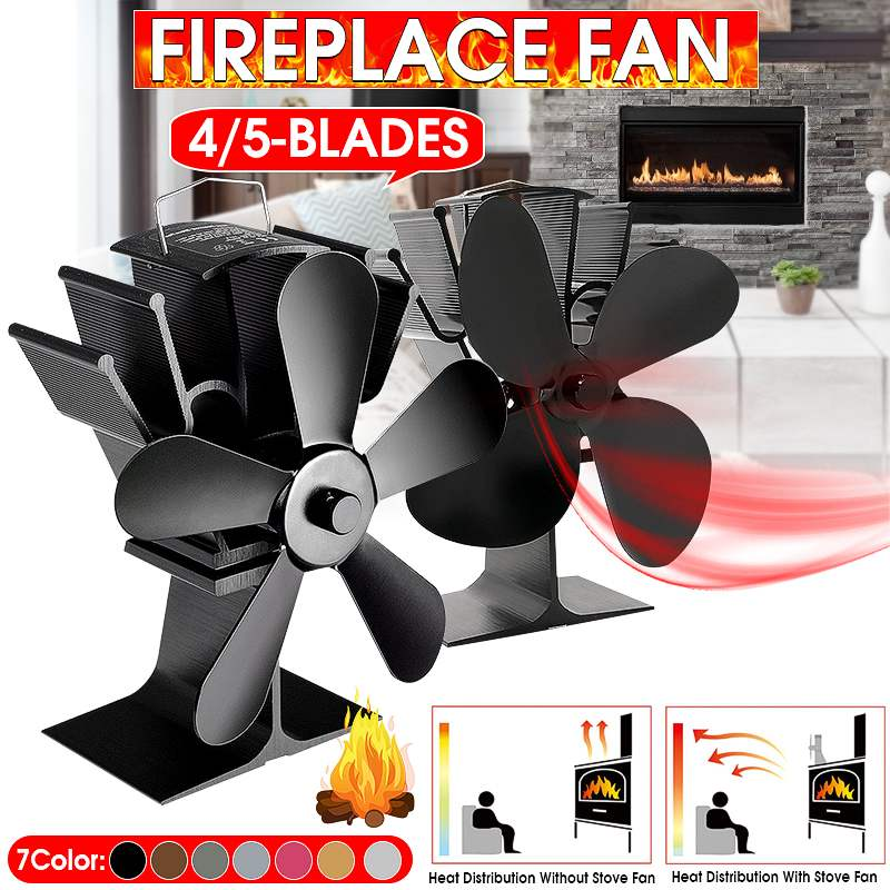 4/5 Blade Heat Powered Stove Fan Black Fireplace Komin Log Wood Burner Eco Friendly Quiet Fan Home Efficient Heat Distribution
