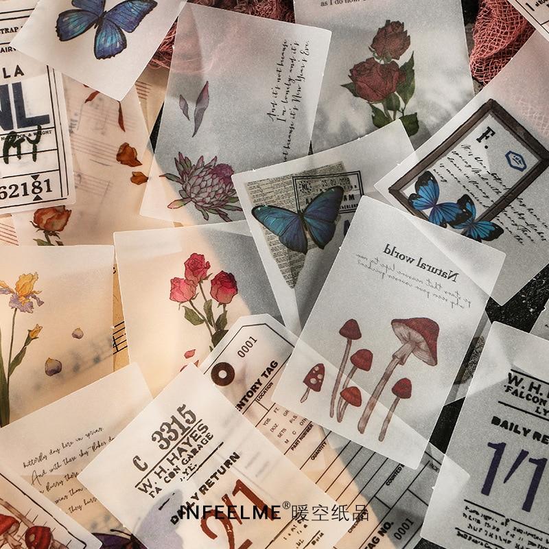 20pcs/pack Vintage Plant Writing Note Plants Flowers Memo Pads Transparent Sulphuric Acid Paper Loos