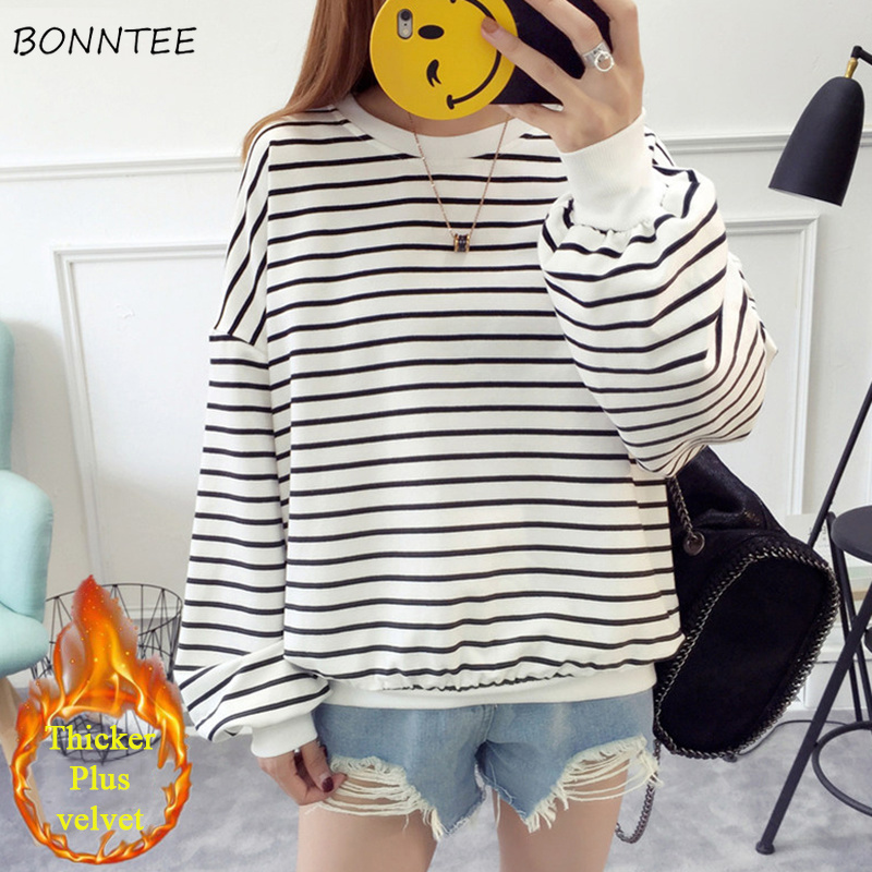 Hoodies Women O-Neck Striped Leisure Loose Simple All-match Korean Style Leisure Sweatshirts Womens Soft Thicker Pullovers Chic
