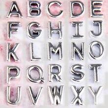 Lettre Alphabet initiale a-z Petite Médaillon Flottant Charme Fit L'europe Bracelet Bijoux À Bricoler Soi-Même 925 Perle en Argent Sterling Charme