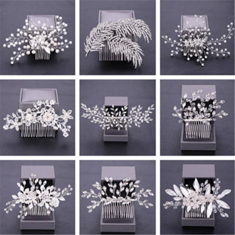 Hot Crystal Bridal Hair Comb Silver Women's Jewelry Accessories Beauty Handmade Pearls Bride Headwear Headcomb Charms Headdress