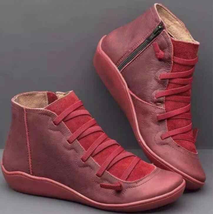 Botines de cuero PU para Mujer Otoño Invierno Cruz tiras Vintage Mujer Punk Botas Zapatos señoras planos Mujer Botas Mujer