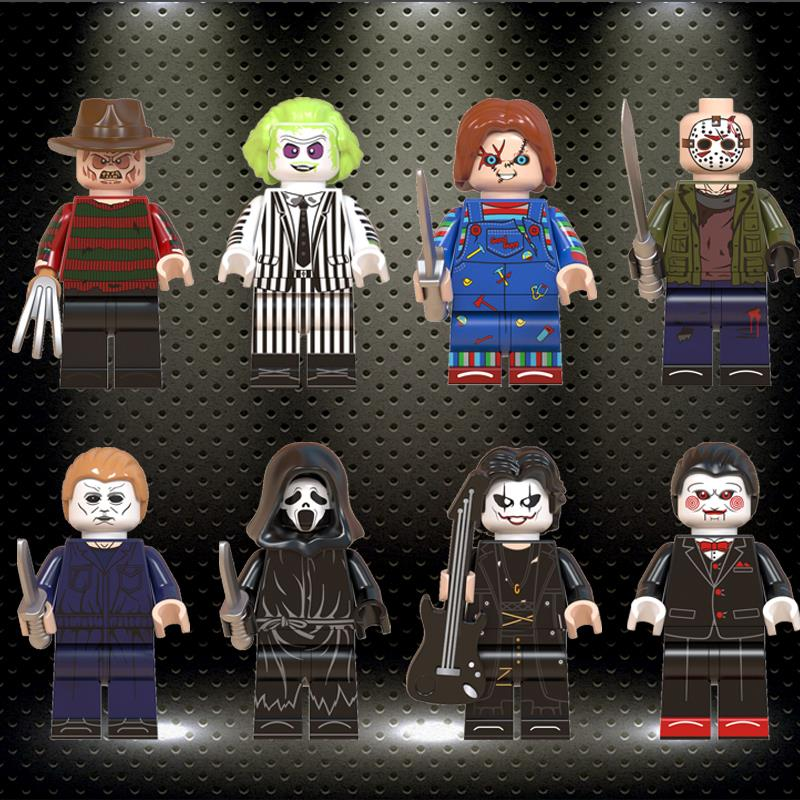 Ed WM6075 Building Blocks Jason Freddy Child's Play Eric Draven Billy MichaelMyers Beetlejuice Action Dolls Kids Gift Toys