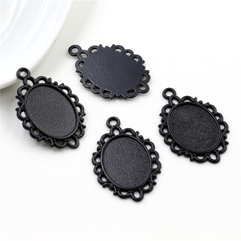 10pcs 13x18mm Inner Size Black Simple Style Cameo Cabochon Base Setting Charms Pendant Necklace Findings  (D2-57)
