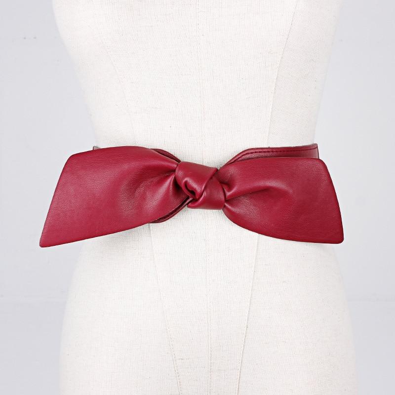 2020 Women Wide Belts For Dresses Leather Big Bow Red Cummerbund Ladies Fashion 2020 Brand Solid Female Wide Waist Belt