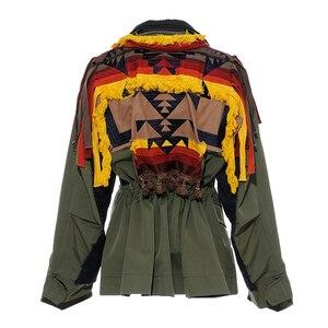 Image 5 - [EAM] גדול גודל פסים ניגודיות צבע דפוס הדפסת מעיל חדש דש סרט Loose Fit נשים מעיל אופנה האביב סתיו 2020 JZ521