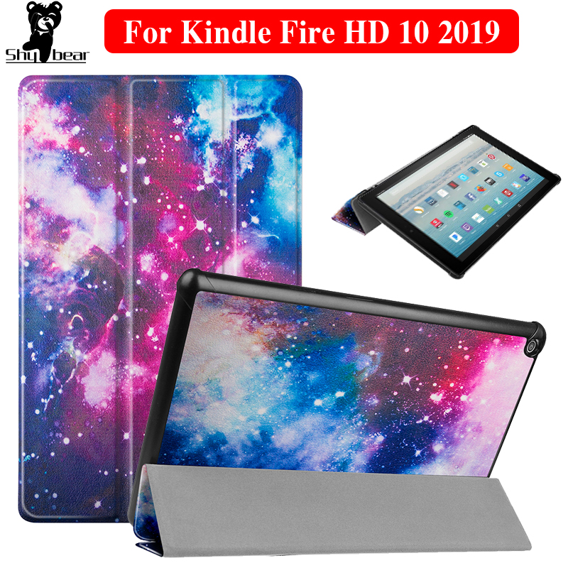 Case for Amazon <font><b>Kindle</b></font> Fire HD <font><b>10</b></font> <font><b>2019</b></font> Case <font><b>Cover</b></font> for <font><b>Kindle</b></font> Fire HD10 9th Generation PU Leather Smart Tablet funda Capa + film image