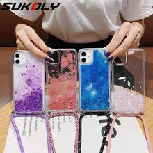 Liquid Quicksand Dynamic Soft Case Cover Chain Necklace Lanyard Case For Apple iPhone SE 2020 11 Pro Max XR XS MAX X 8 7 Plus 6S quicksand capinha case for iphone 7 8 6s plus makeup cosmetics dynamic liquid hard back cover for iphone x xr xs max capa ipone
