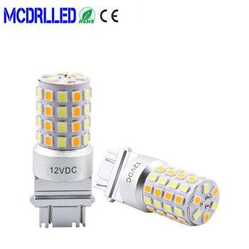 цена на Car Led Bulb 6w 1157 T25 3157 7443 White Amber Auto Led Drl Light Dual Color Led Turn Signal Light Switchback 54smd 2835 P27