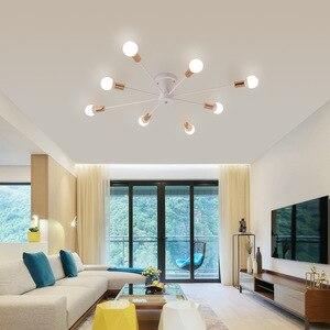 Image 5 - Retro demir avize siyah/beyaz 6/8/10 yuva aydınlatma Vintage örümcek avize Modern tavan lamba ışığı fikstür aydınlatma