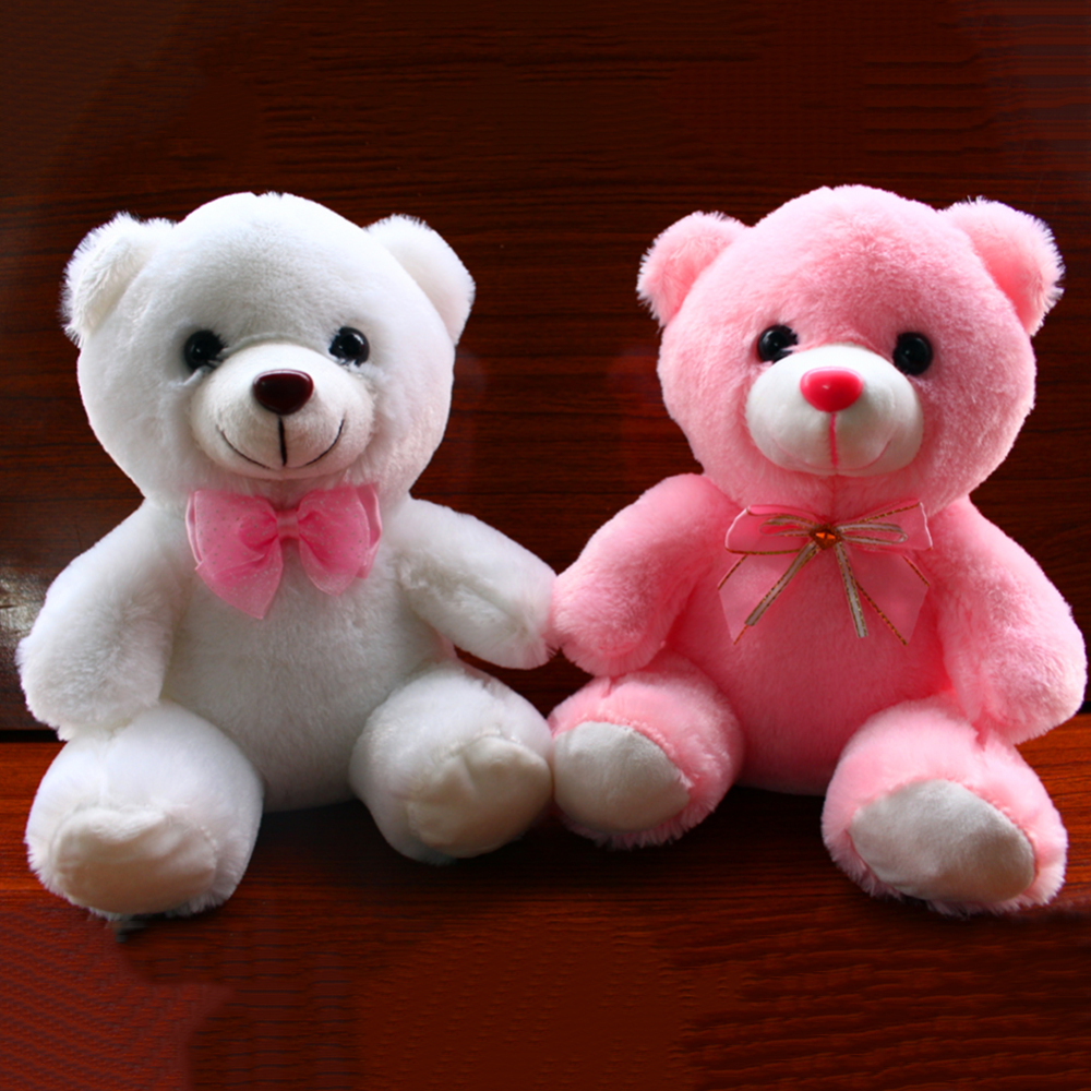 2020 Creative Cute Plush Toy Colorful Led Glowing Small Bear Stuffed Doll Night Light Animals Plush Cartoon Toys Gifts  For Kids