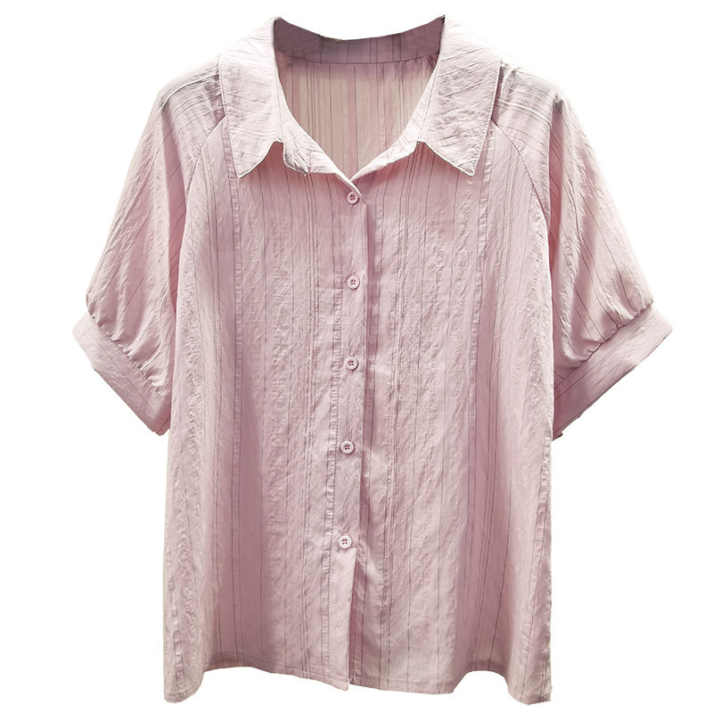 Women Casual Loose Style Chiffon Blouses Shirts Lady Striped Printed Turn-down Collar Short Sleeve Blusas Tops DF2868