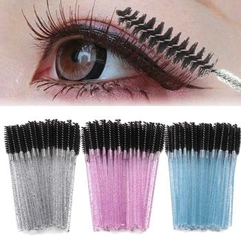 50pcs/lot Disposable Colorful Handle Beauty Mascara Wands Applicator Lash Nylon Makeup Brushes Eyelash Extension Makeup Tool 1