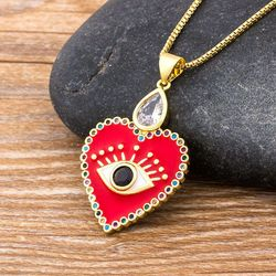 Hot Sale AAA Cubic Zirconia Copper Pendant Necklace Heart Shape Evil Eye Necklace Red/Black/White Colors Choice Women Jewelry