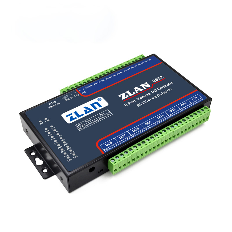 8 Ports Modbus Analog Data Acquisition Module, Digital Acquisition Module, Switch Quantity To Collect IO Controller ZLAN6802