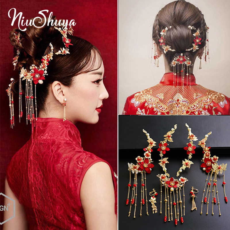 Style 17 Red Gold Chinese Wedding Bridal Hair CombHair PieceHair Accessory