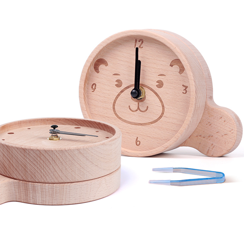 Wooden Baby Clock Memento Kids Lanugo Tooth Storage Box Teeth Umbilical Lanugo Organizer Gift Baby Keepsakes Save Baby Tooth Box