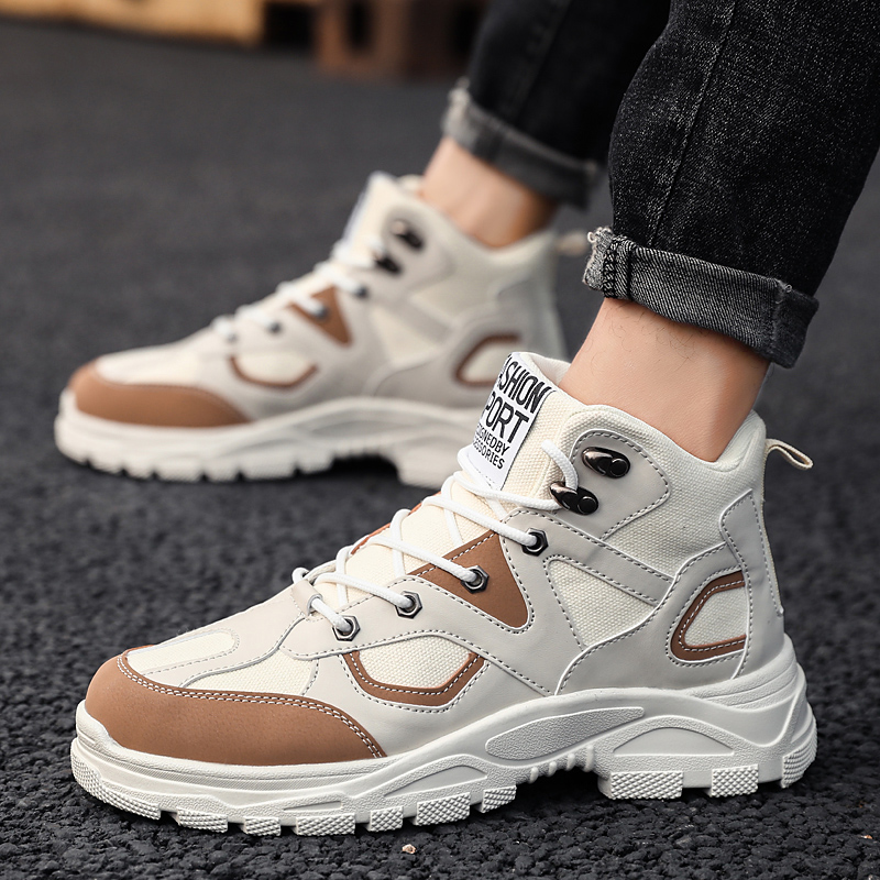 Fashion Men's Military Boots Outdoor Warm Snow Boots Non-slip Winter Sports Shoes Safety Shoes Thick Bottom Increased Beige