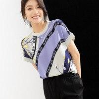 Silk T shirt women's summer short sleeved printed T shirt round neck mulberry silk top high end 26 M heavy elastic satin T shirt