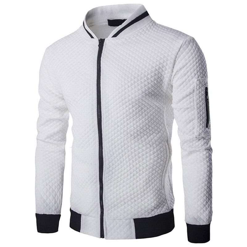 WENYUJH 2019 New Trend White Fashion Men's Jackets Clothes Long Sleeve Men's Veste Homme Argyle Zipper Jacket Casual Jacket