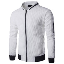 WENYUJH 2019 New Trend White Fashion Mens Jackets Clothes Long Sleeve Veste Homme Argyle Zipper Jacket Casual