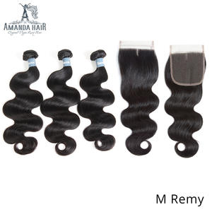 Amanda Malaysian Hair Body Wave Bundles with Closure FreeMiddle Part 100% Remy Human Hair Weave Bundles with Closure 4x4