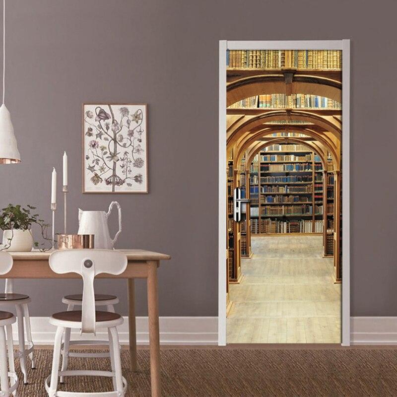 PVC Self Adhesive Waterproof Door Sticker Living Room Bookshelf Mural Wallpaper 3D Stereo Space Study Room Door Mural Decal