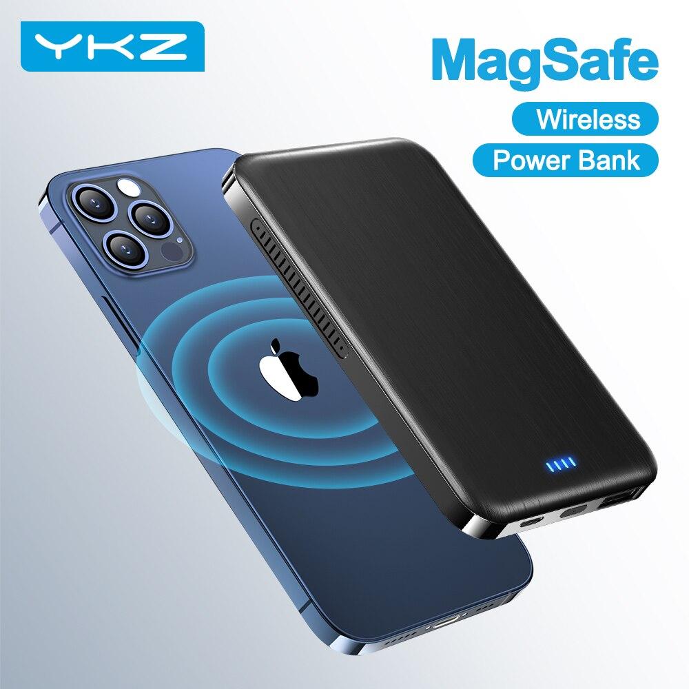 YKZ MagSafe Power Bank зарядное устройство для iPhone 12 Pro QI Беспроводное зарядное устройство мощность core 4000mAh мини-панель солнечных батарей магнитный ми...