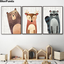 Woodland Animal Nursery Wall Art Bear Deer Raccoon Nordic Cute Canvas Painting Poster Baby Print Picture Children Bedroom Decor(China)