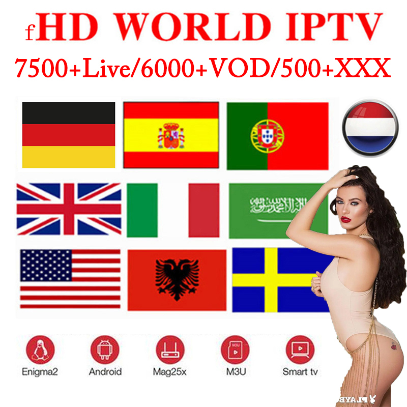 TV IPTV 1 Year Subscription 7500+ Live 6500+ VOD Spain Arabic UK Brasil Europe Iptv Free Test For Android Box M3u Xxx Smart IPTV