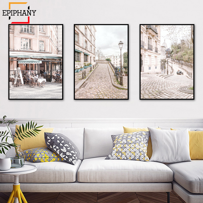 Giclee Wall Art <font><b>Paris</b></font> Posters and Prints Bedroom Decor Contemporary Pink Canvas Painting Modern City Picture for Living Room image