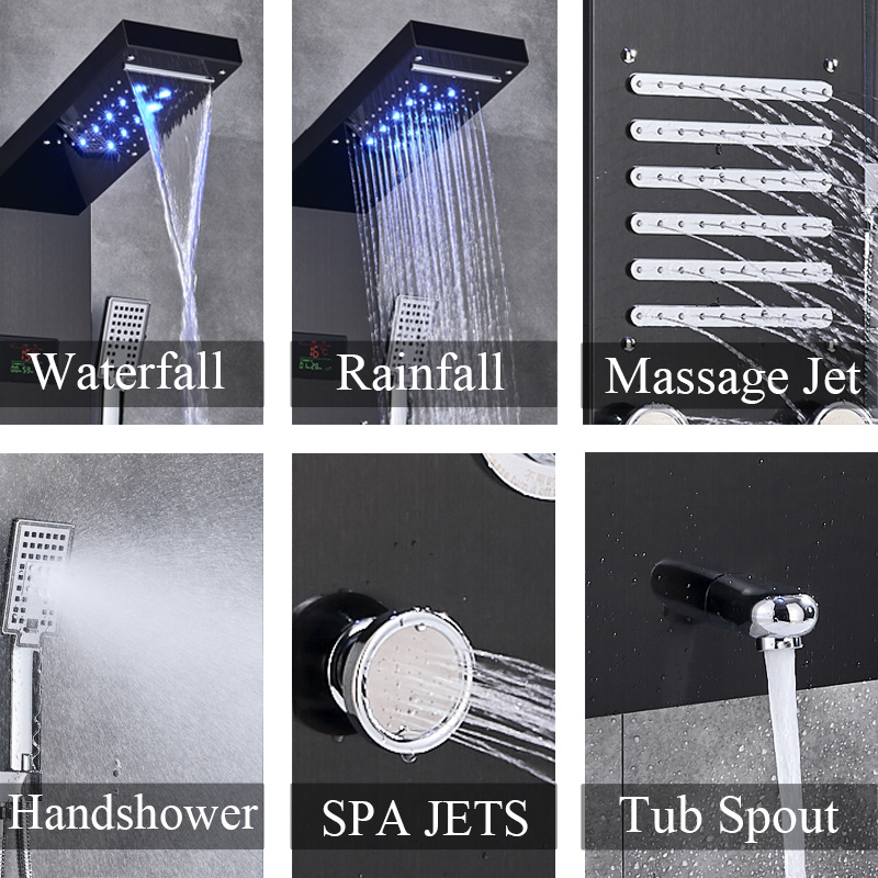 H169074ae64d64960ae6a0488e161443cG Newly Luxury Black/Brushed Bathroom Shower Faucet LED Shower Panel Column Bathtub Mixer Tap With Hand Shower Temperature Screen