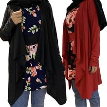 Dubai Muslim Women Long Tops Flower Printed Blouse Loose Casual Shirts Fake Two Pieces Ramadan Islamic Long Sleeve Spring Fall