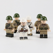 WW2 Military Soviet Army Soldier Figures Building Blocks World War II Russia Helmet parts kids toys