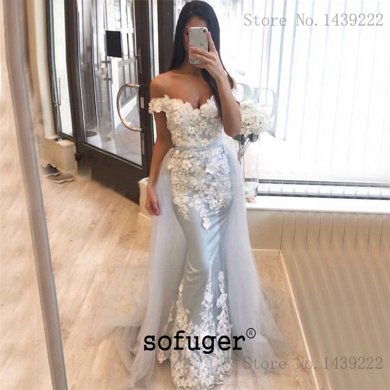 Silver Grey Girl Tulle Strap Detachable Train   Evening     Dresses   Prom Long Arabic Special Occasion Robe De Soiree Plus