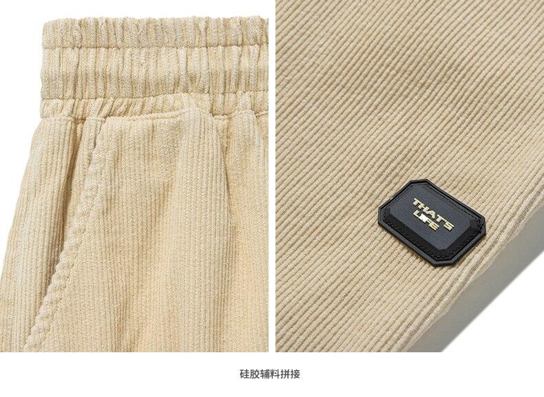 INFLATION Design Mens Winter Corduroy Jogger Pants Pure Color Loose Overalls Men Jogger Corduroy Pants Elastic Waist 93345W 16