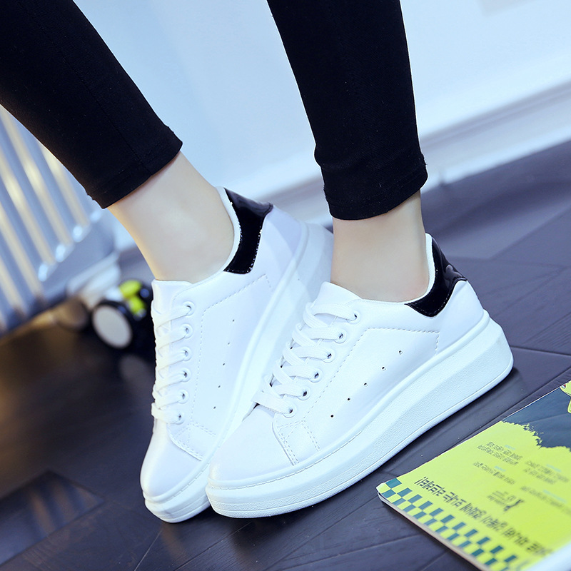 2019 Wild Fashion Women Canvas Shoes New Casual  White Thick-soled Female  Summer Flat Shoes Increase Shoes 758
