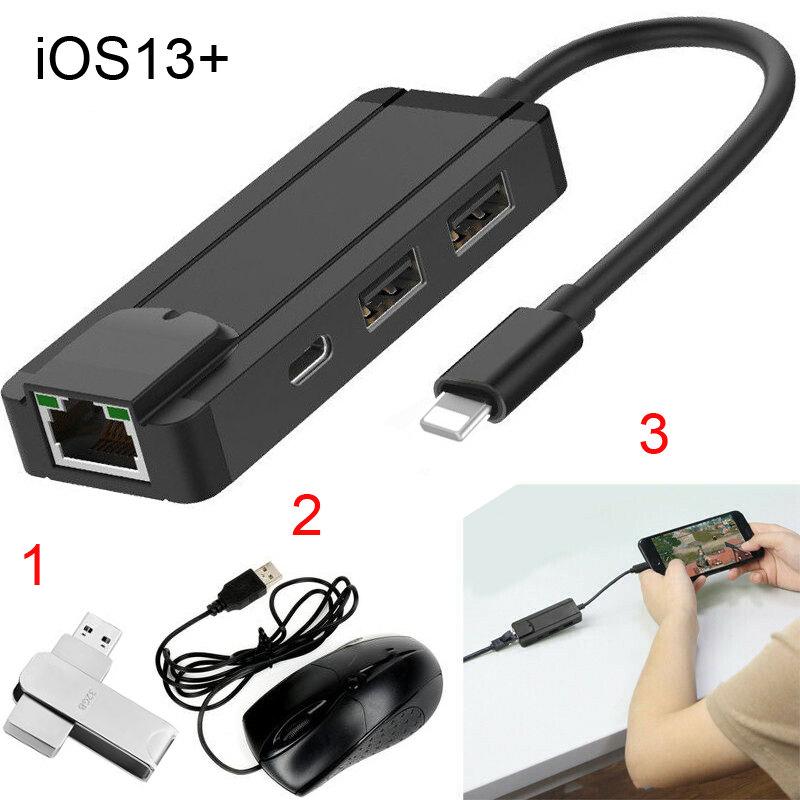 IOS 13 Charging OTG USB U Flash Disk File Reader Mouse Connect RJ45 Network Cable Ethernet Adapter For IPhone 11 Pro MAX 6 7 8 X