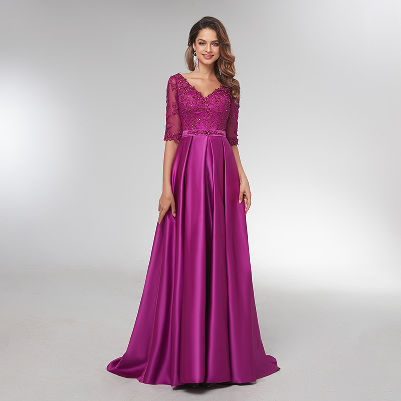 Purple 3/4 Long Sleeves Evening Dresses 2019 Elegant Lace Appliqued Beaded Long Formal Gowns Illusion V-Neck Satin Prom Dress