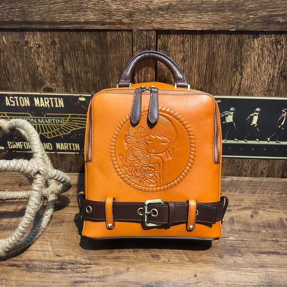 Original Design 100% Genuine Leather Women Travel Backpack Daypack Fashion Colorful School Bag For Cool Girl
