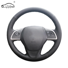 Capa para volante de carro em couro artificial, capa trançada para mitsubishi outlander 2013 2014 mirage 2014 asx l200/personalizada