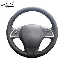Tresse de volant de voiture en cuir artificiel, sur mesure, pour Mitsubishi Outlander 2013 2014 Mirage 2014 ASX L200/housse de direction sur mesure