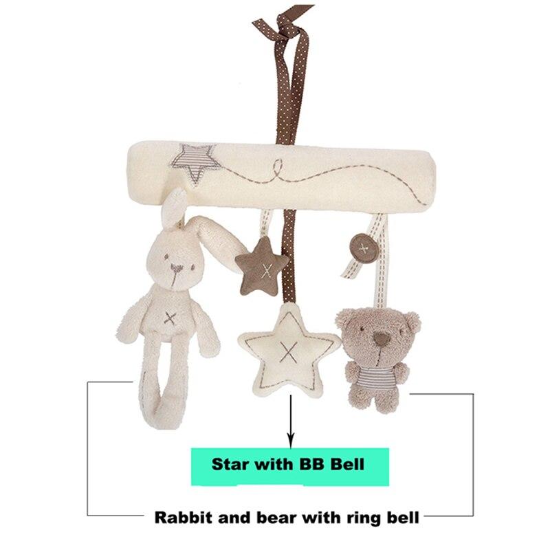 Купить с кэшбэком Rabbit baby hanging bed safety seat plush toy Hand Bell Multifunctional Plush Toy Stroller Mobile Gifts WJ141
