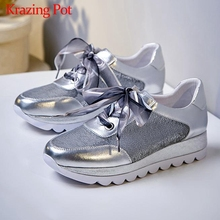 Vulcanized-Shoes Silver-Color Sequined Med-Heels Bling Casual Cloth Lace-Up L6f7 Krazing-Pot