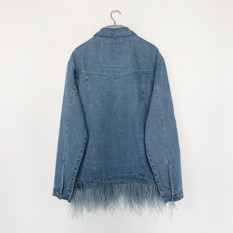 [EAM] 19 New Autumn Winter Lapel Long Sleeve Blue Feather Split Joint Loose Denim Big Size Jacket Women Coat Fashion JW832 6