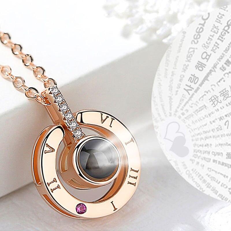 Huitan Лидер продаж круглый/подвеска в форме сердца для ожерелья для женщин с уникальным проекции Функция 100 Язык