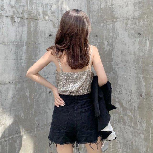 New Sexy Women's Collar Sleeveless Glittering Sleeve Stationery T-shirt